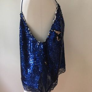 Free People Tops - Sequined blue/silver evening tank top